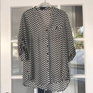 White and black chevron button up blouse